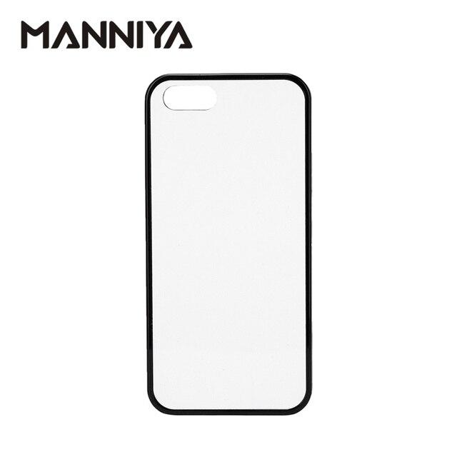 MANNIYA 2D di Sublimazione In Bianco gomma di TPU + Cassa Del PC per iphone 5/5S/SE CON Inserti in alluminio E colla Trasporto Libero! 100 pz/lotto