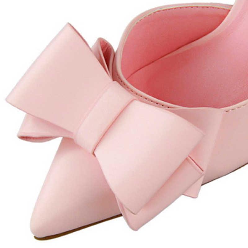 7 Warna Korea Manis Dasi Kupu-kupu Runcing Pompa Baru Fashion Paten Kulit Seksi Sisi Cut-Out Dangkal Tinggi sepatu Hak