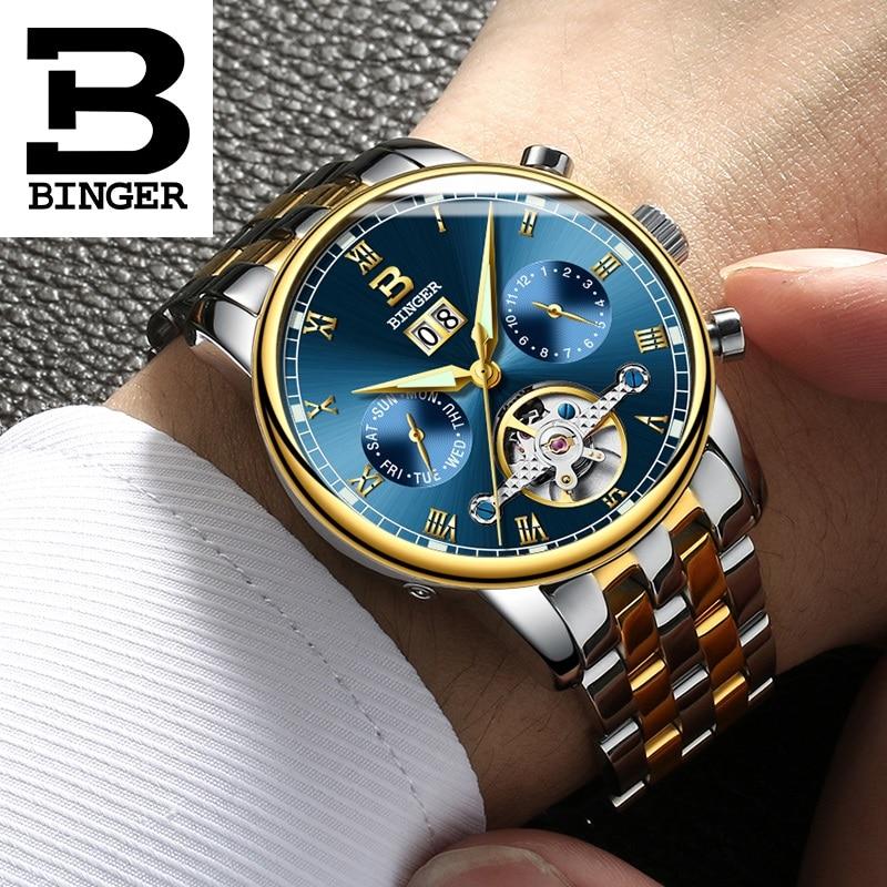 a87fcaba390 Double Tourbillon Relógios Suíça BINGER dos homens Originais Relógio  Automático Auto-Vento Homens Moda Couro