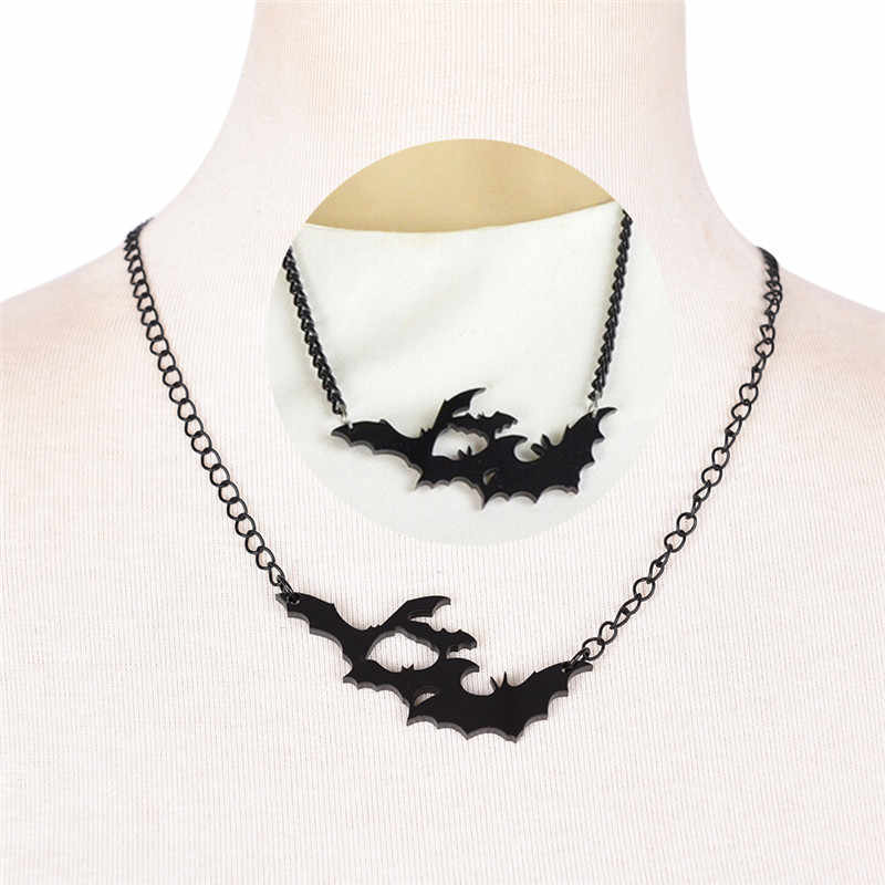 1Pcs Costume Jewelry Gothic Style Black Chain Lovely Animal Bat Necklaces Pendants Fashion Accessories Gift For Friends