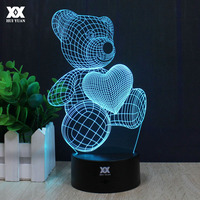 Teddy Bear Kitty Cat 3D Lamp LOVE Romantic Night Light LED Decorative Table Lamp USB Colorful