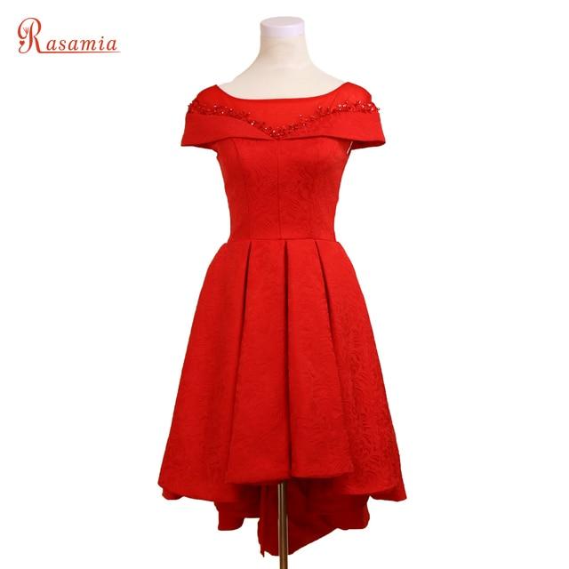 936fe75bbcf53 الدانتيل مطرز الزهور الحمراء فساتين السهرة عالية منخفضة قصير prom اللباس  الأنيق vestido حزب رسمي مساء