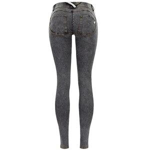 Image 4 - סקסי נמוך מותניים ג ינס אישה אפרסק לדחוף את ירך סקיני ג ינס מכנסיים החבר ז אן לנשים אלסטי חותלות אפור ג ינס בתוספת גודל