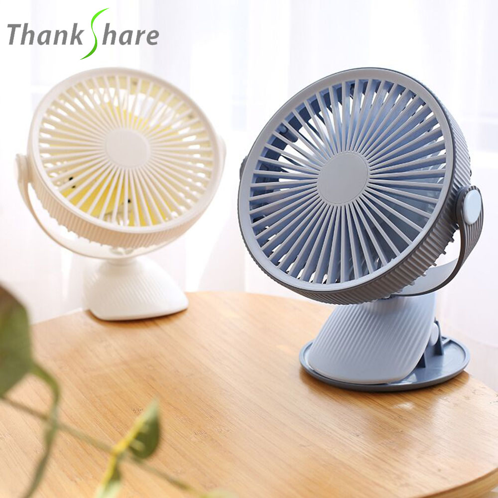 THANKSHARE Portable USB Fan Rechargeable Battery USB Operated Clip Student Fan 360 Degree Rotation Mini Desk Fan For Baby Travel