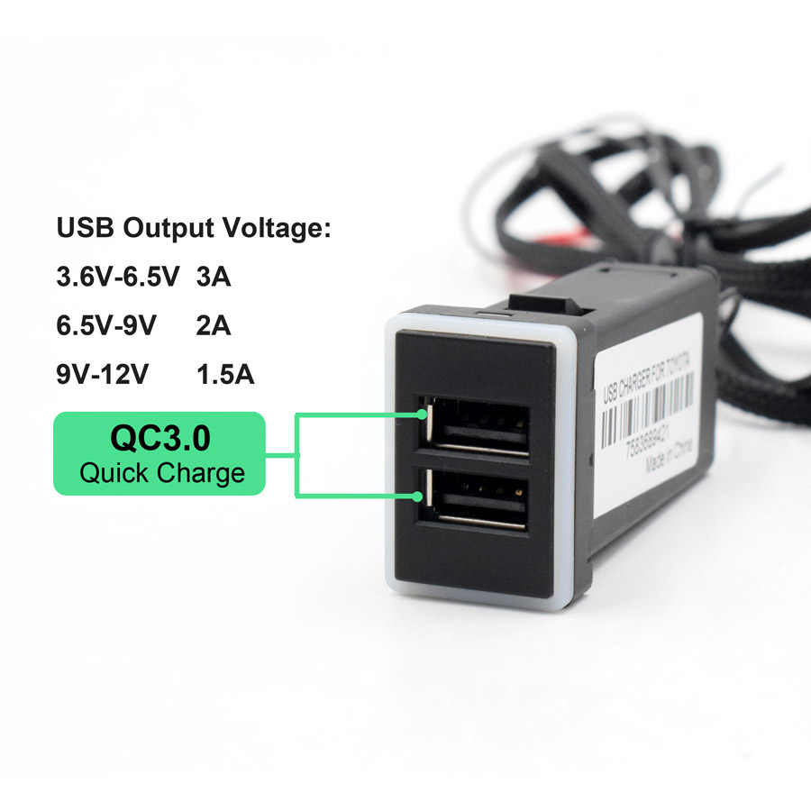 XCGaoon QC3.0 Quickcharge Car Charger Double USB Phone PDA DVR Adapter Plug & Play Cable For Toyota