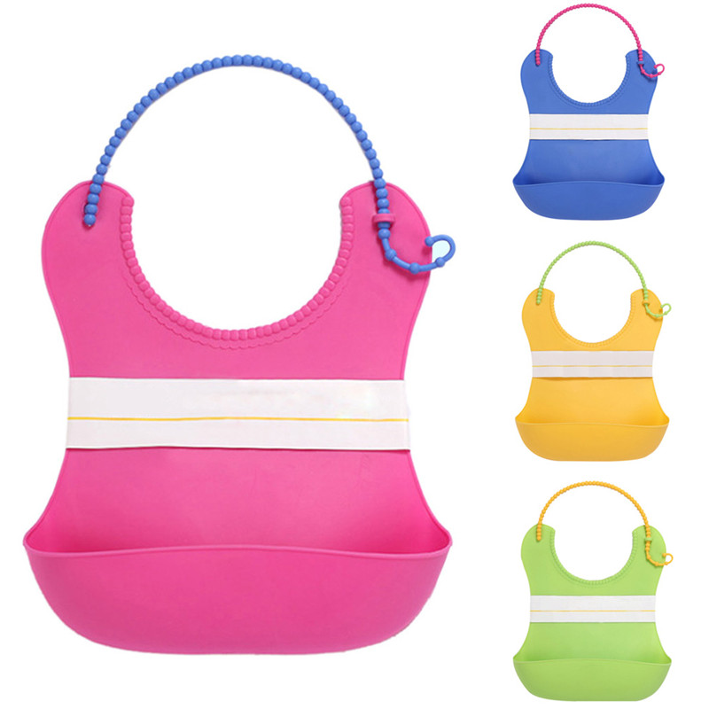 Baby Bibs Infant Baby Feeding Products Cute Funny Adjustable Waterproof Washable and Reusable Baby Bibs Pink/Blue/Green/Yellow