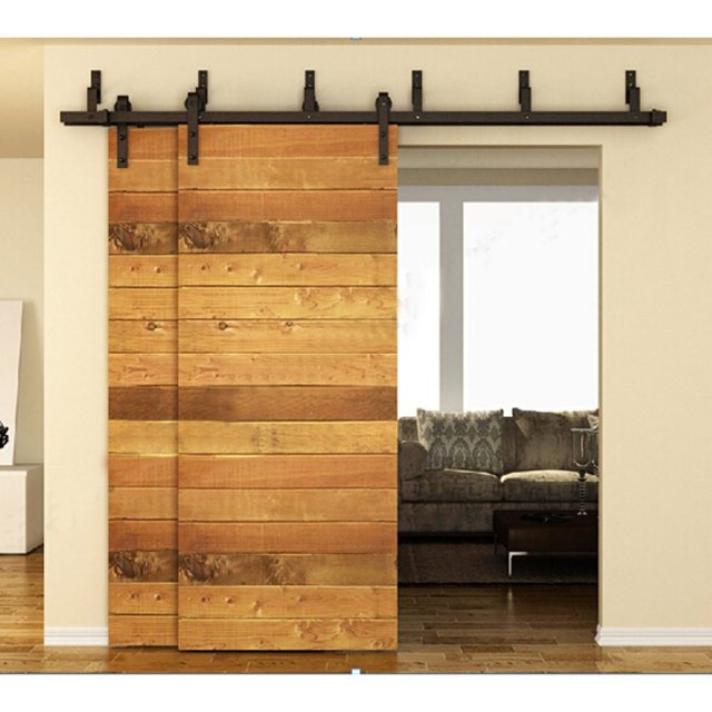 183cm / 200cm / 244cm Bypass Sliding Barn Wood Door Hardware Interior Sliding  Door Black Rustic