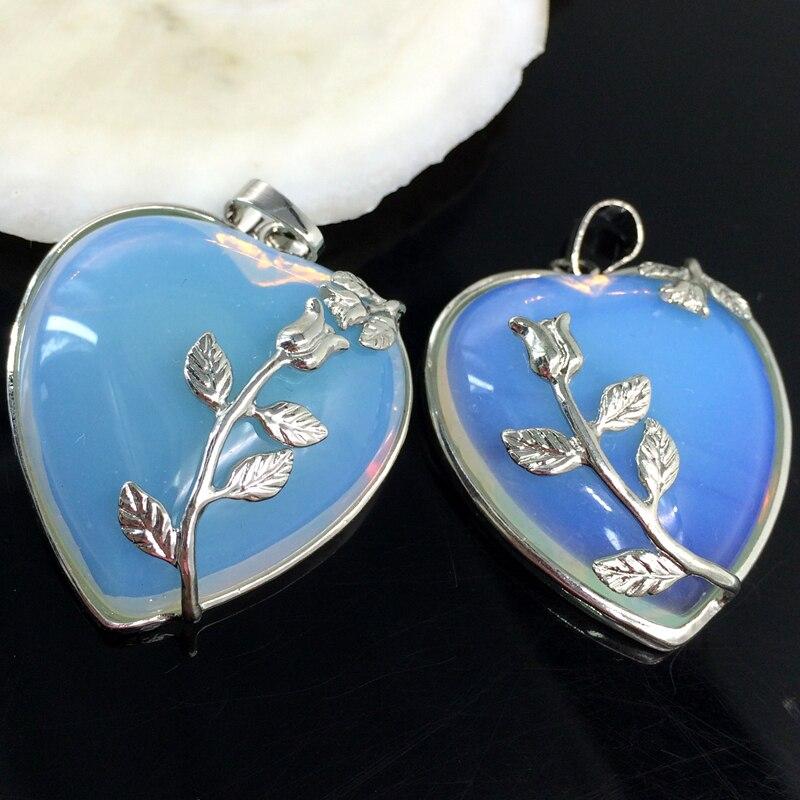 Hot sale white opal stone beads 27*33mm flower wire wrap heart shape ...