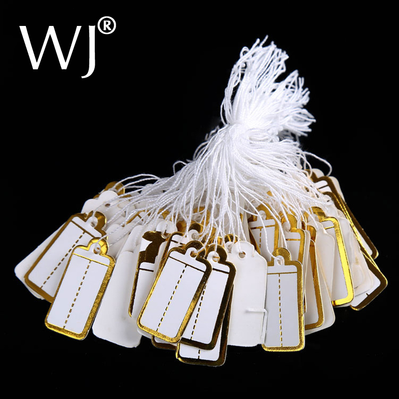 WJ-1295 200PCS Strings Display White And Gold Pack Paper Price Tags Price Lables For Jewelry Store Accessories Necessity Tools