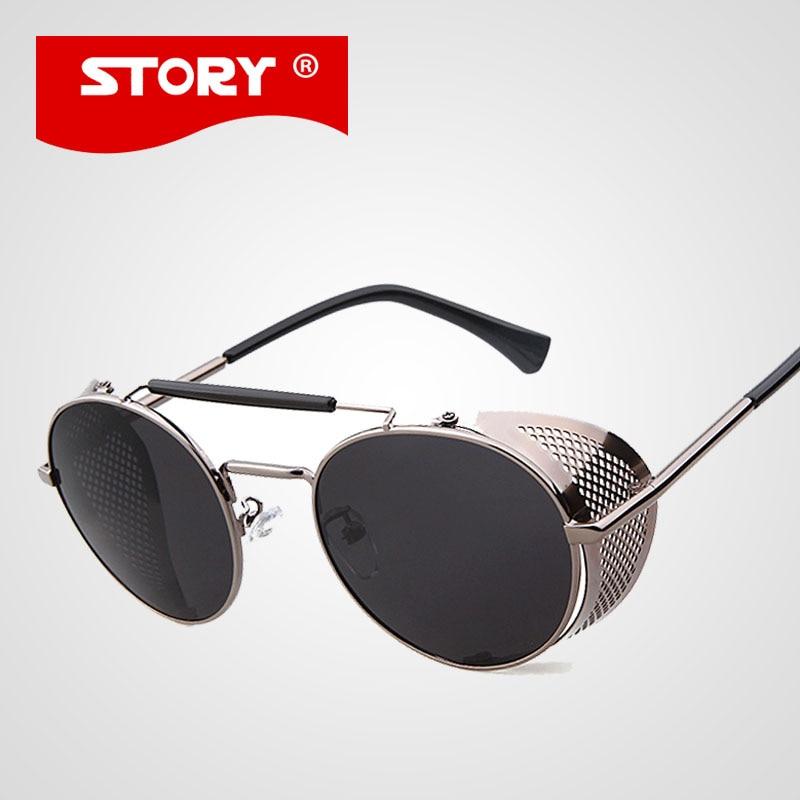 0d61dde1537dc HISTÓRIA Hot Preto Óculos Mulheres Rodada óculos de Sol de Luxo Da Marca  Dos Homens Óculos Retro Gótico Do Vintage Steampunk óculos de Sol UV400