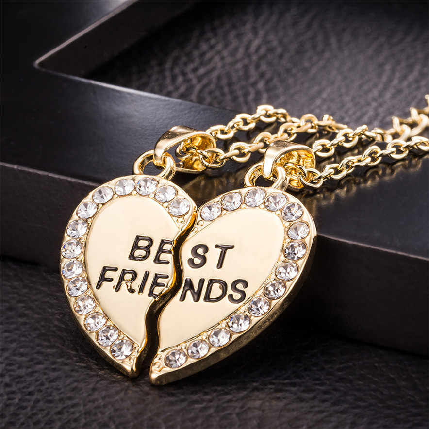 Stylish Jewelry Unisex 2 Pcs Bff Necklace Best Friend Mens Womens Heart Pendant Necklace  Couple Harf Kolye Gold color Chain  #1