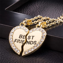 Stylish Jewelry Unisex 2 Pcs Bff Necklace Best Friend Mens Womens Heart Pendant Necklace Couple Harf Kolye Gold color Chain #1(China)