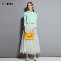 Two Pieces Set Clothing Autumn Spring Women Green Pink Shirt+Solid Mesh Ball Gown Skirt Suit Elegant Party Work Set Female Suits