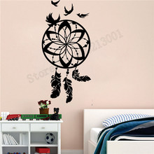 Wall Sticker Protective Amulet Birds Feather Room Decoration Vinyl Art Removeable Poster Beauty Dreamcatcher Ornament LY606 цена