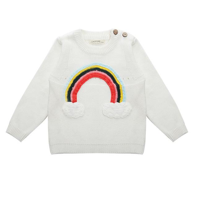 Rainbow Jumper Prendas de punto Suéter de Invierno 2016 Niños Ocasional Niños Ropa de Punto suéter de las muchachas niños traje de primavera