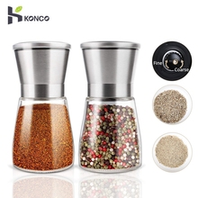 KONCO 2 шт мельница для соли, мельница для перца, мельницы для перца из нержавеющей стали, набор с регулируемой керамикой со стеклянным корпусом