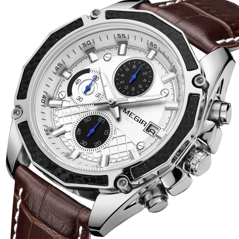 <font><b>Megir</b></font> Brand Quartz Men Watches Fashion Genuine Leather Chronograph Watch Clock For Gentle Men Male Students Reloj Hombre <font><b>2015</b></font> image
