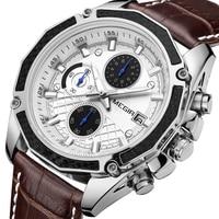 Megir Brand Quartz Men Watches Fashion Genuine Leather Chronograph Watch Clock For Gentle Men Male Students Reloj Hombre 2015