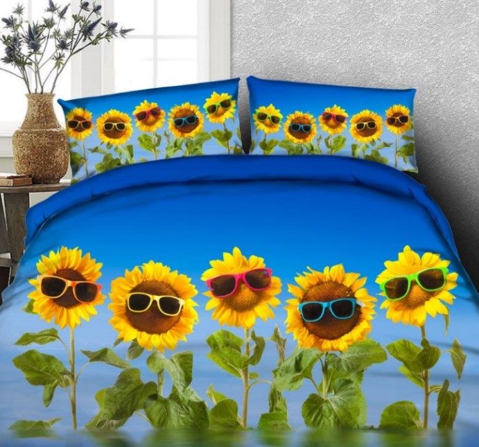 Sunflower Bedding set 3D Cartoon Floral duvet cover bed sheets bed in a bag Queen size California King double twin full 4PCSSunflower Bedding set 3D Cartoon Floral duvet cover bed sheets bed in a bag Queen size California King double twin full 4PCS