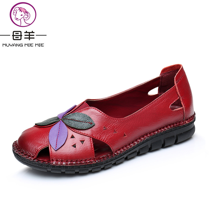 MUYANG MIE MIE Summer Women Shoes Woman Genuine Leather Breathable Soft Flower Flat Sandals Fashion Women Sandals muyang mie mie women sandals 2018 new summer shoes woman genuine leather flat sandals fashion casual sandals women