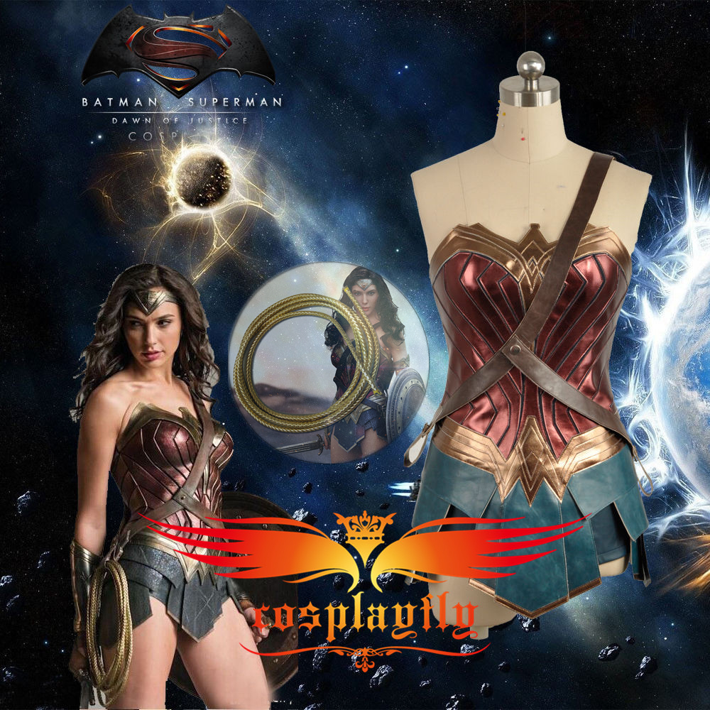 (In Stock) BatmanvSuperman:Dawn Of Justice Wonder Woman Diana Costume Golden Rope(free Fee) Adult Cosplay Corset Dress+Women Wig