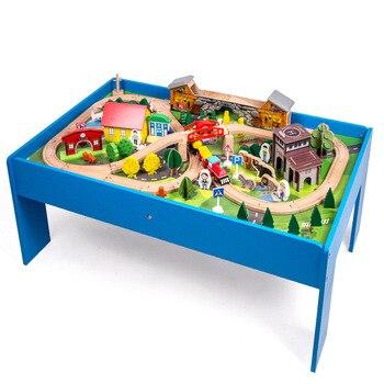Высокое качество 108 шт поезд трек здание набор деревянных столов с мультипликационным грузовиком машины лес животное движение сцена модели...