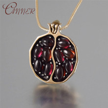 CANNER Ethnic Boho Gold Necklace Women Girls Birthday Gift Red Garnet Stone Pendant 2019 New Summer Jewelry Collares