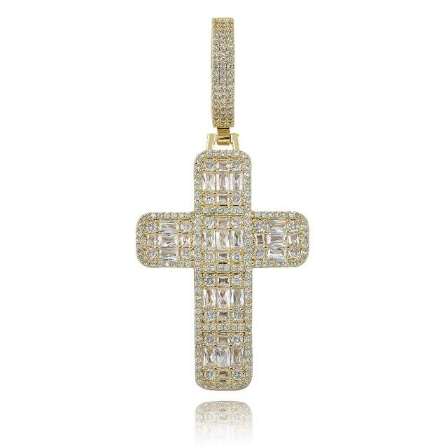 Collier pendentif croix glacé pour hommes/femmes, Micro pavé, Hip Hop, couleur or argent, chaîne à breloques scintillantes, bijoux