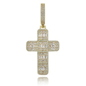 Image 1 - Quality Iced Out Asscher Cut Cross Pendant Necklace Mens/Women Micro Paved Hip Hop Gold Silver Color Bling Charm Chains Jewelry
