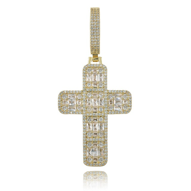 Quality Iced Out Asscher Cut Cross Pendant Necklace Mens/Women Micro Paved Hip Hop Gold Silver Color Bling Charm Chains Jewelry