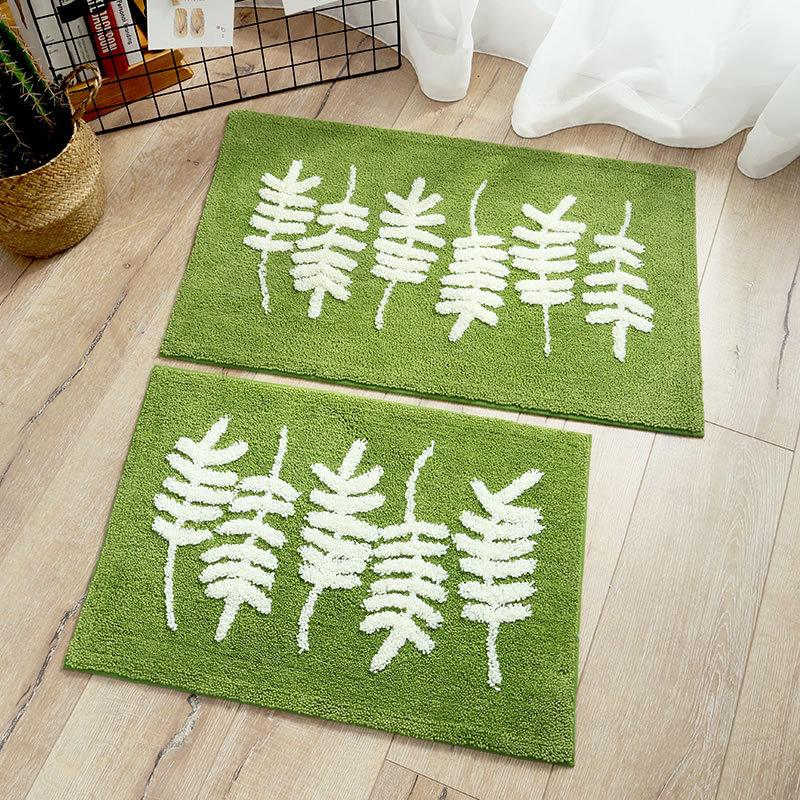 Green Leaf Doormat Floor Mat Flocking Anti slip Water Absorption Thicken Carpet Kitchen Door Mat Toilet Tapete Rug Porch Doormat in Mat from Home Garden