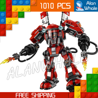 1010pcs New Ninja Fire Mech Battle Huge Robots 06052 Model Building Blocks Children Assemble Toys Bricks