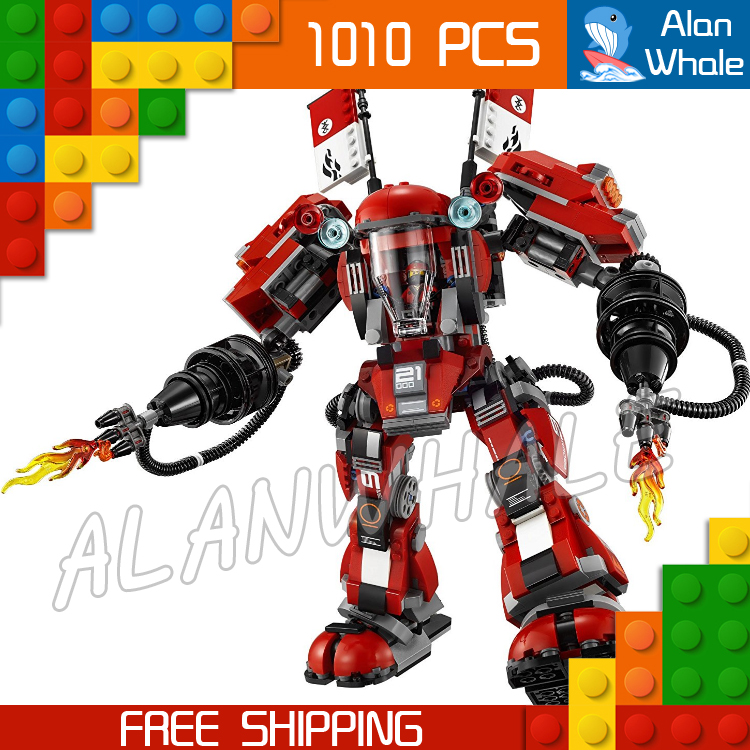 1010pcs New Ninja Fire Mech Battle Huge Robots 10720 Model Building Blocks Children Assemble Toys Bricks Compatible With lego lepin 663pcs ninja killow vs samurai x mech oni chopper robots 06077 building blocks assemble toys bricks compatible with 70642