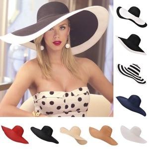 Image 1 - 7.1/18cm Huge Wide Brim Sun Hats Straw Summer Church Wedding Hats for Womens Ladies Floppy Kentucky Derby Party Dressy