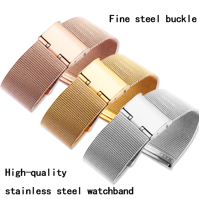 Stainless steel strap suitable for Milan watch band wrist band lovers watch band accessories Fine steel watch tape 18mm/20mm/22