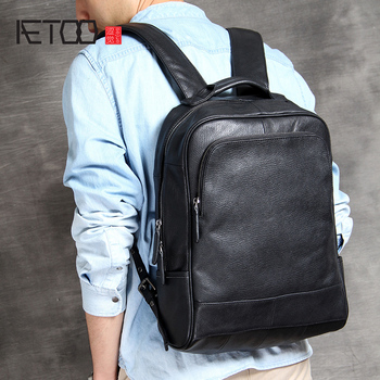 AETOO Head Cowhide double shoulder Bag simple hundred men's leather backpack handmade fashion classic business computer Bag