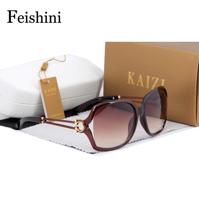 FEISHINI HD Moda óculos de Sol Das Mulheres Designer De Marca 2017 balcões de Lojas de UVA de Qualidade Avançada Lente CR39 Óculos vintage