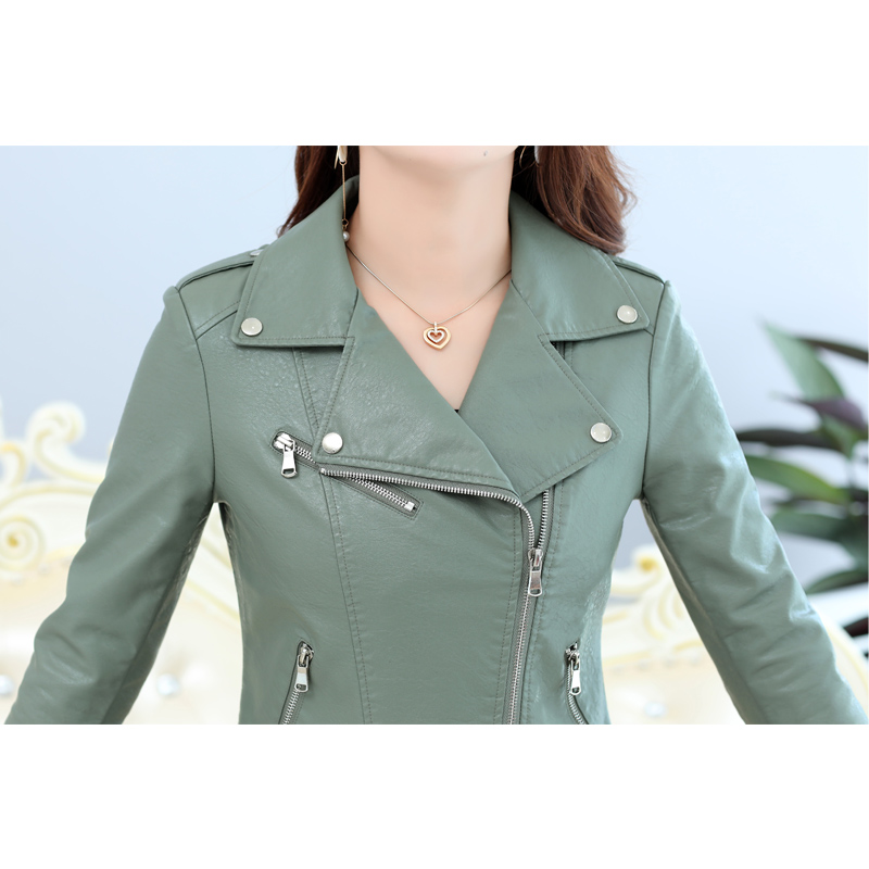 2019 Fashion Autumn Zipper faux leather coat Plus Size Short Motorcycle moto basic jacket Turn down Collar PU women outwear 4XL in Leather Jackets from Women 39 s Clothing