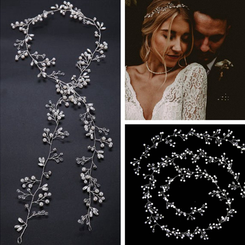 2019 Crystal <font><b>Wedding</b></font> <font><b>Hair</b></font> <font><b>Accessories</b></font> Headband Simulated Pearl Bridal Vine Hairbands Crown <font><b>Headpiece</b></font> Bride Women's Jewelry image