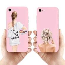 Capa de silicone para iphone 11 11pro 11promax 8 7 6 plus x xs max 5 design de moda feminina marrom princesa menina