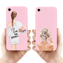 Design de moda Beleza Feminina Marrom Princesa Menina Silicone Case Voltar parágrafo iphone 11 11PRO MAX 8 7 6 S Plus X XS MAX XR 5S