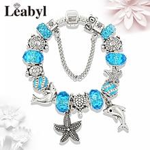 New Tibetan 925 Silver Tortoise Dolphin Fashion Charm Bracelet Blue Crystal Bead Pandora Bracelets & Bangles Jewelry Pulseras