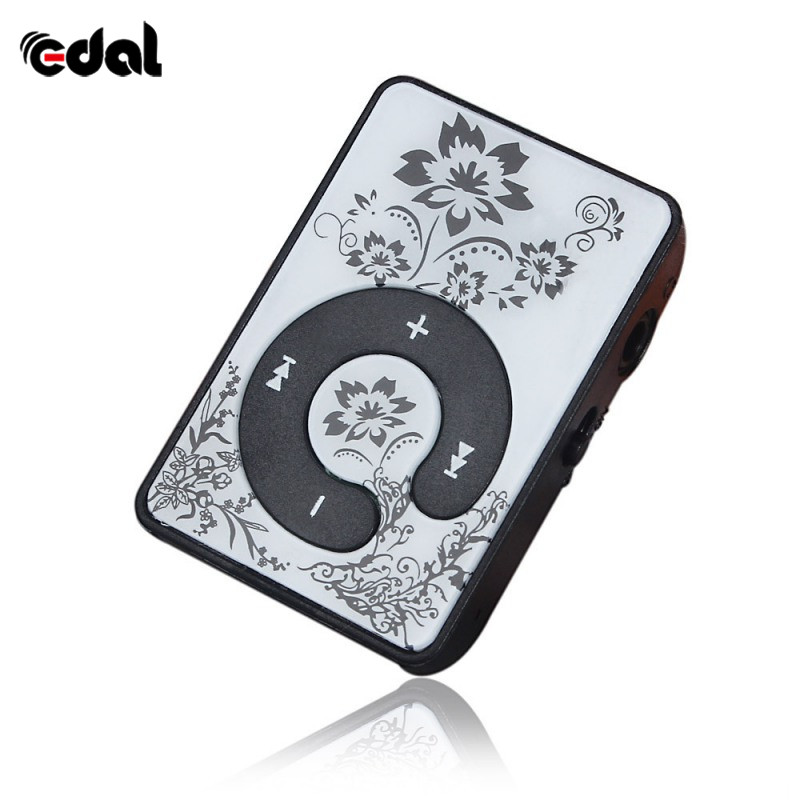 Portable Mini MP3 Music Player  Printing Flower Mirror Clip Support 8GB SD TF Card USB Digital 5 Colors