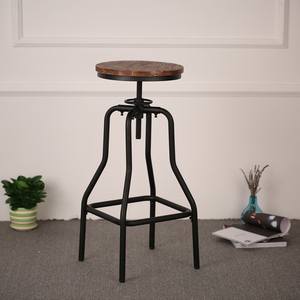 iKayaa Bar Stool Industrial Style Bar Chair Height Adjustable Swivel Barstool Natural Pinewood Top Kitchen Dining Chairs Stools
