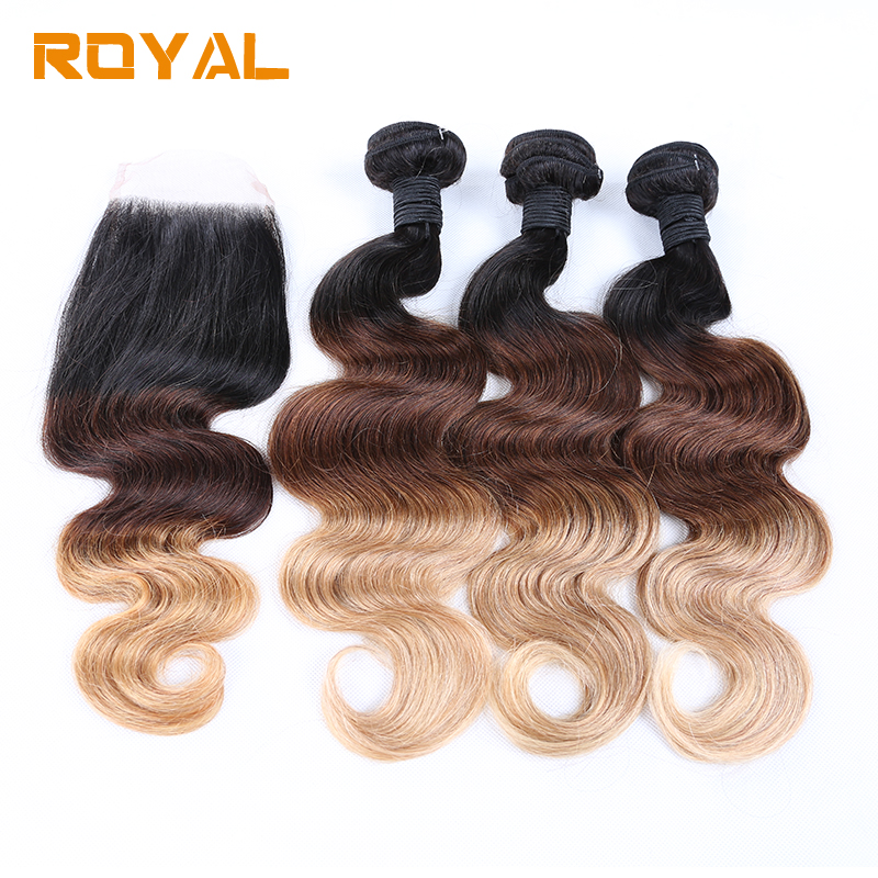 Pre-Colore Ombre T1B/4/27 3 Bundles With Closure Brazilian Body Wave Human Hair Blundles With Closure Royal Non Remy Hair
