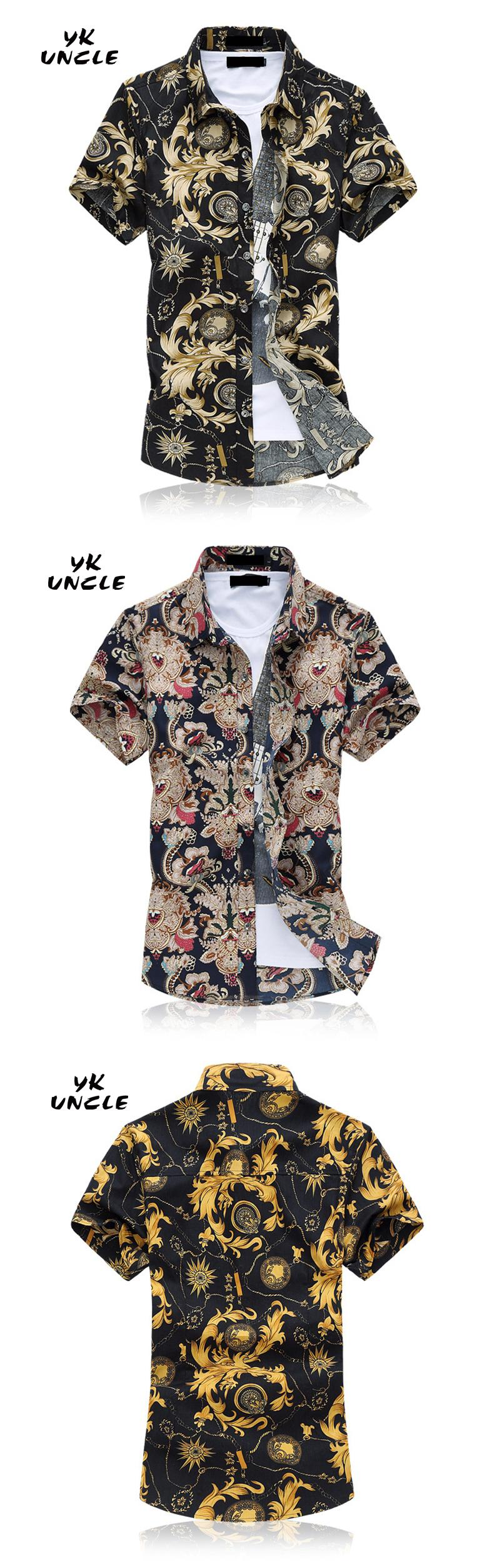 eb1f552d 2016 Floral Printed Flower Men Shirts Short Sleeve Fashion Casual Chemise  Homme Camisa Masculina Plus Size M 6XL,YK UNCLE-in Casual Shirts from Men's  ...