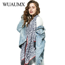 Wuaumx  NEW Brand Scarf Women Leopard Pattern Hijab And Scarves Cotton Spring Autumn Long Muffler sjaal szaliki i chusty