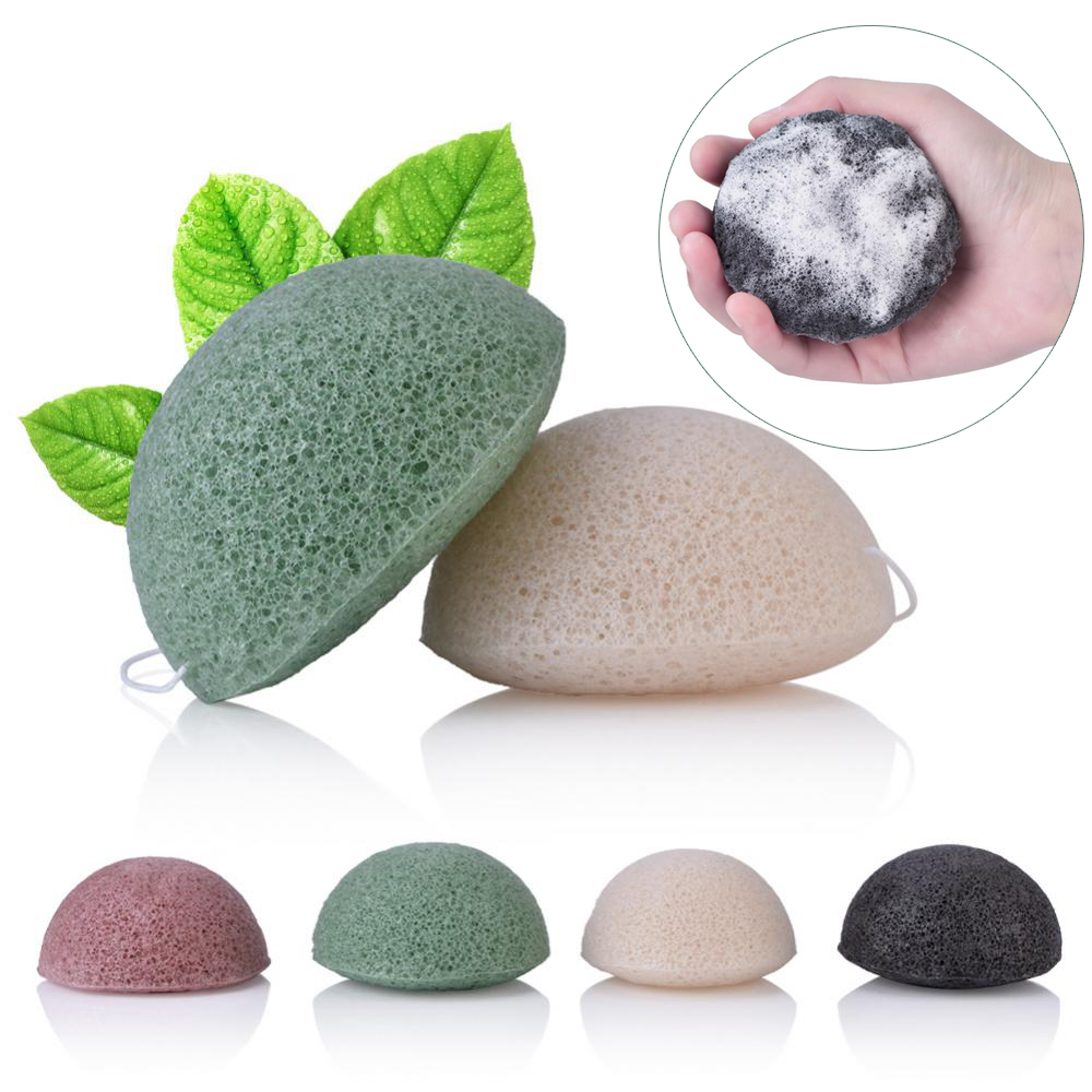 4pcs Exfoliator Cleanse Konjac Sponge Natural Konjac Konnyaku Puff Face Wash Cleaning Sponge Esponja Maquiagem Makeup Konjac-in Cosmetic Puff from Beauty & Health