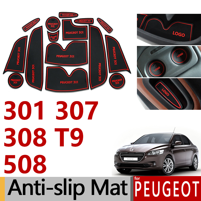 Anti-Slip Rubber Gate Slot Cup Mat for <font><b>Peugeot</b></font> 307 <font><b>308</b></font> T9 301 508 2011 2012 2013 2014 <font><b>2015</b></font> 2016 2017 2018 <font><b>SW</b></font> Accessories Sticker image