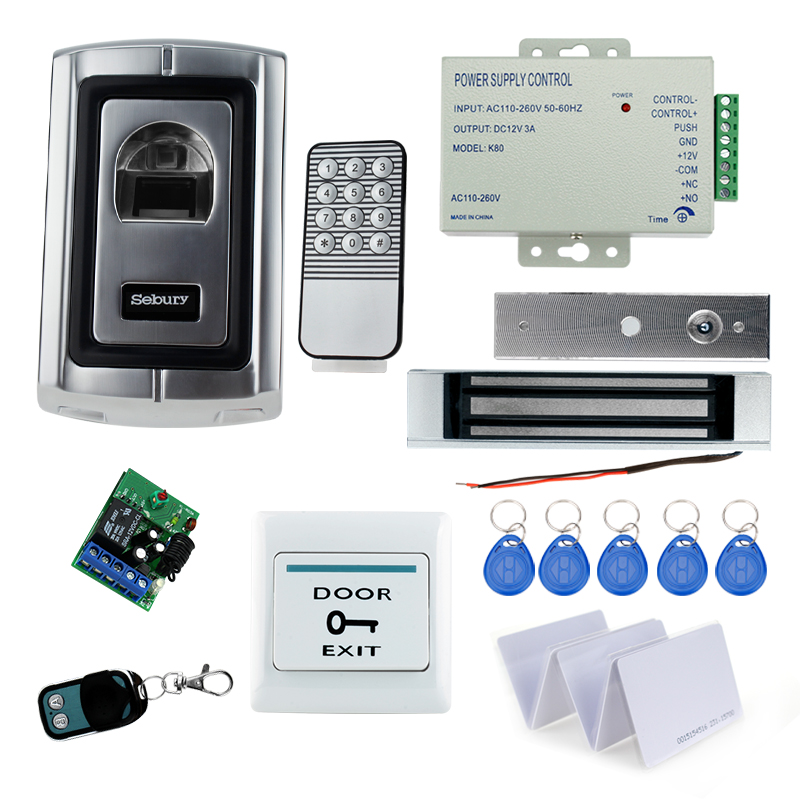 Full RFID finger scanner lock system access control F007EM+180KG magnetic lock+power supply+exit button+remote control full rfid fingerprint scanner machine biometric access control f007em electric drop bolt lock power supply exit button keychains